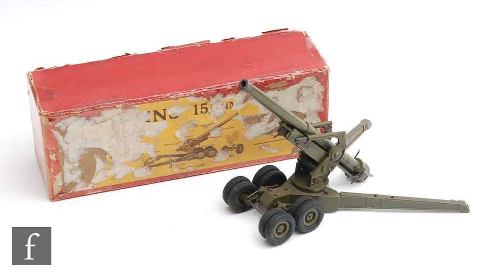 A Britains 155mm Gun, set 2064 comprising gun in gloss green, two wheel trail carriage, barrel