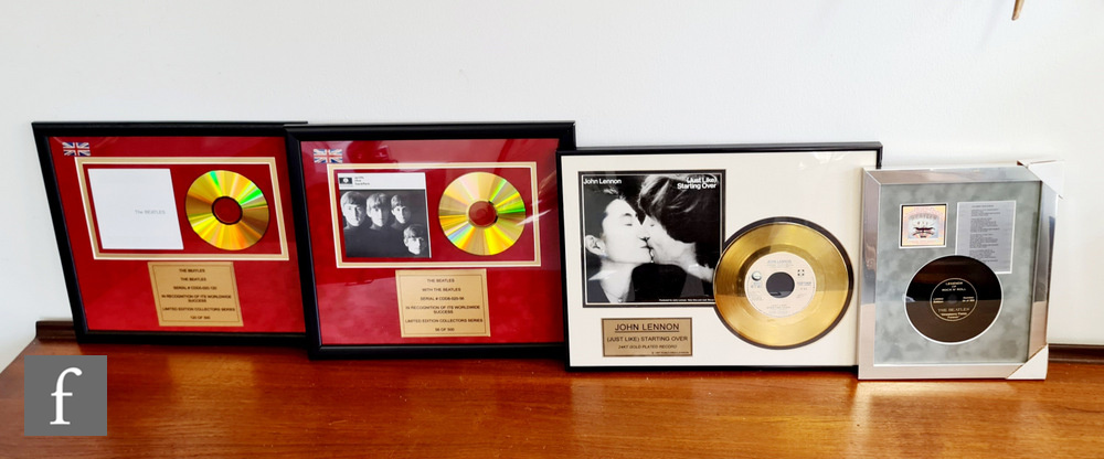 A collection of Beatles framed montages to include a (Just Like) Starting Over gold plated 7 inch