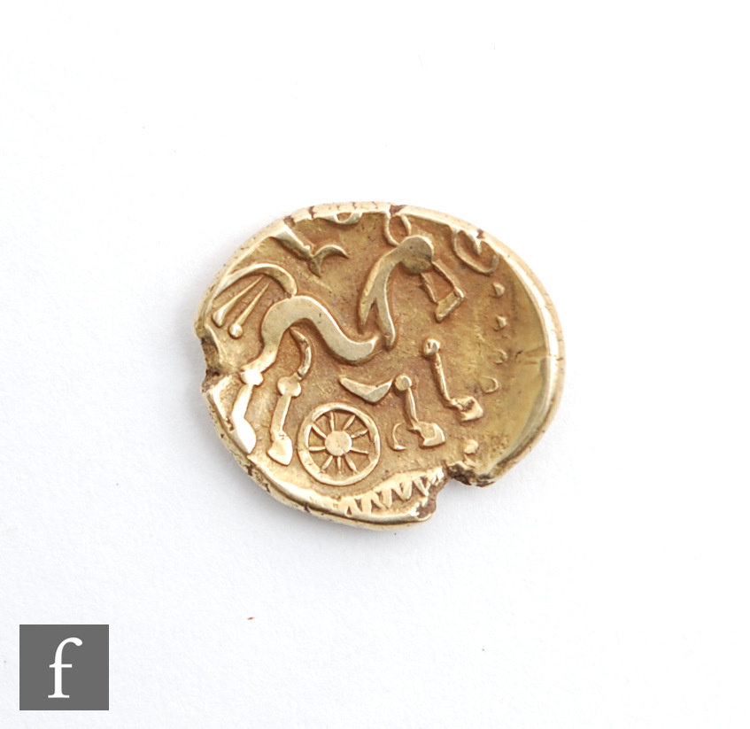 A Regina and Atrebates Gold Stater Circa 50 BC, three tailed horse above wheel, plain reverse, 5.9g.