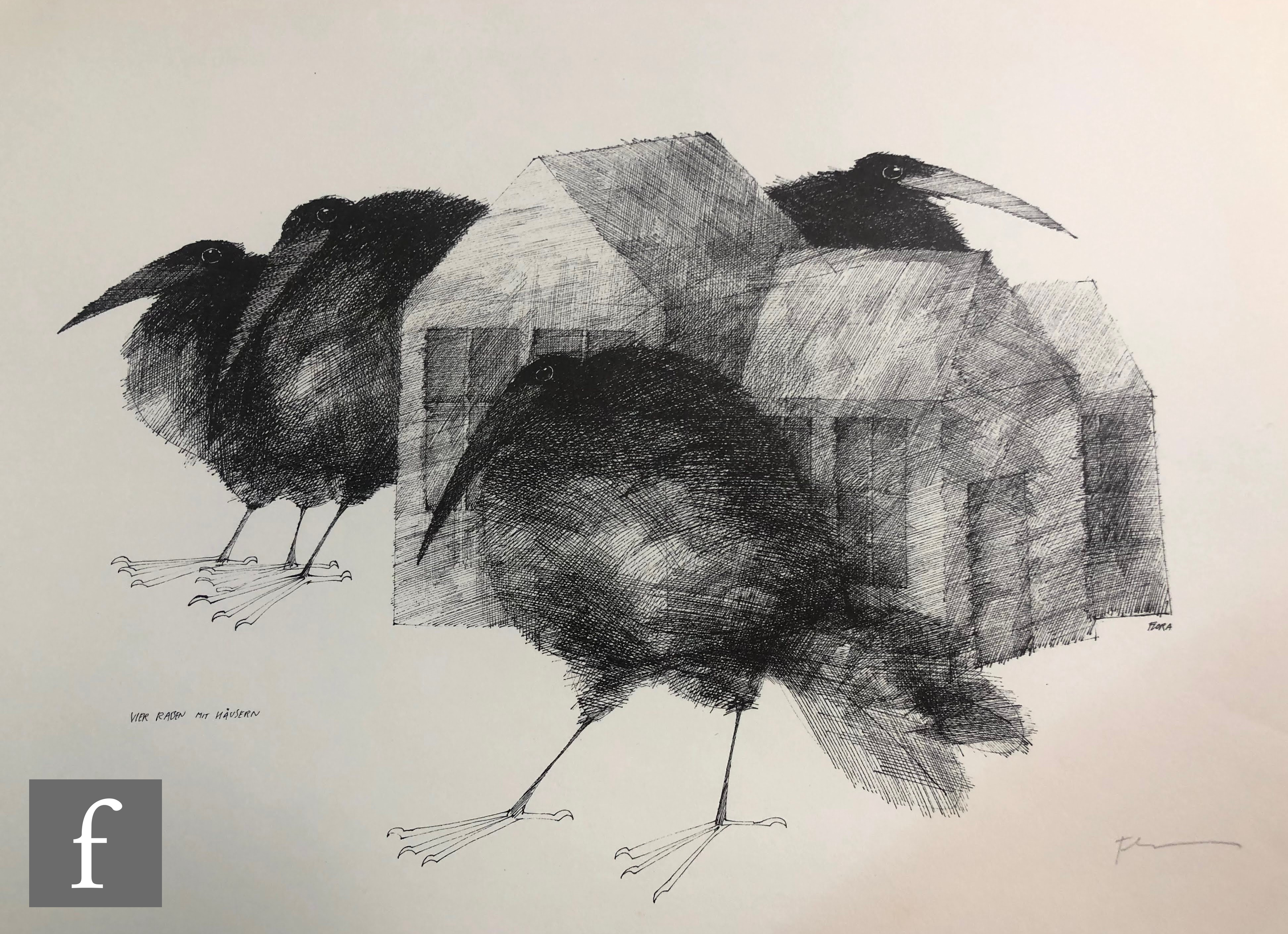 AFTER PAUL FLORA - Die Raben (The Ravens), a set of lithographs in original folder signed and - Image 3 of 4