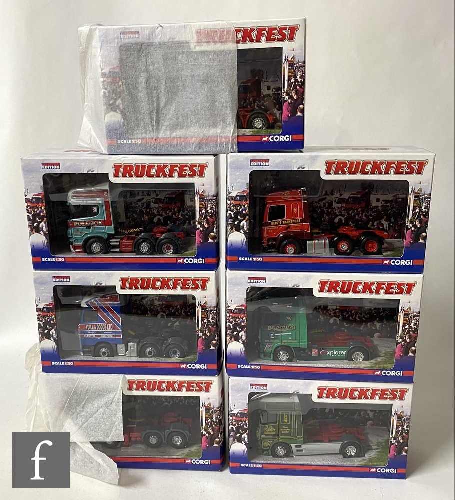 Seven Corgi Truckfest 1:50 scale diecast model cabs, to include CC13232 DAF XF Super Cab Beamish