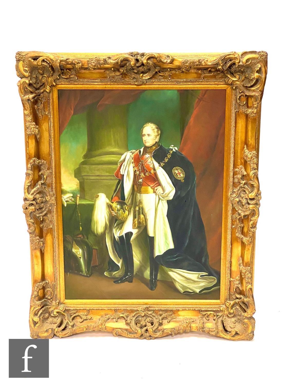 A 20th Century portrait of Napoleon, in full reglia before architectural landscape, oil on canvas,
