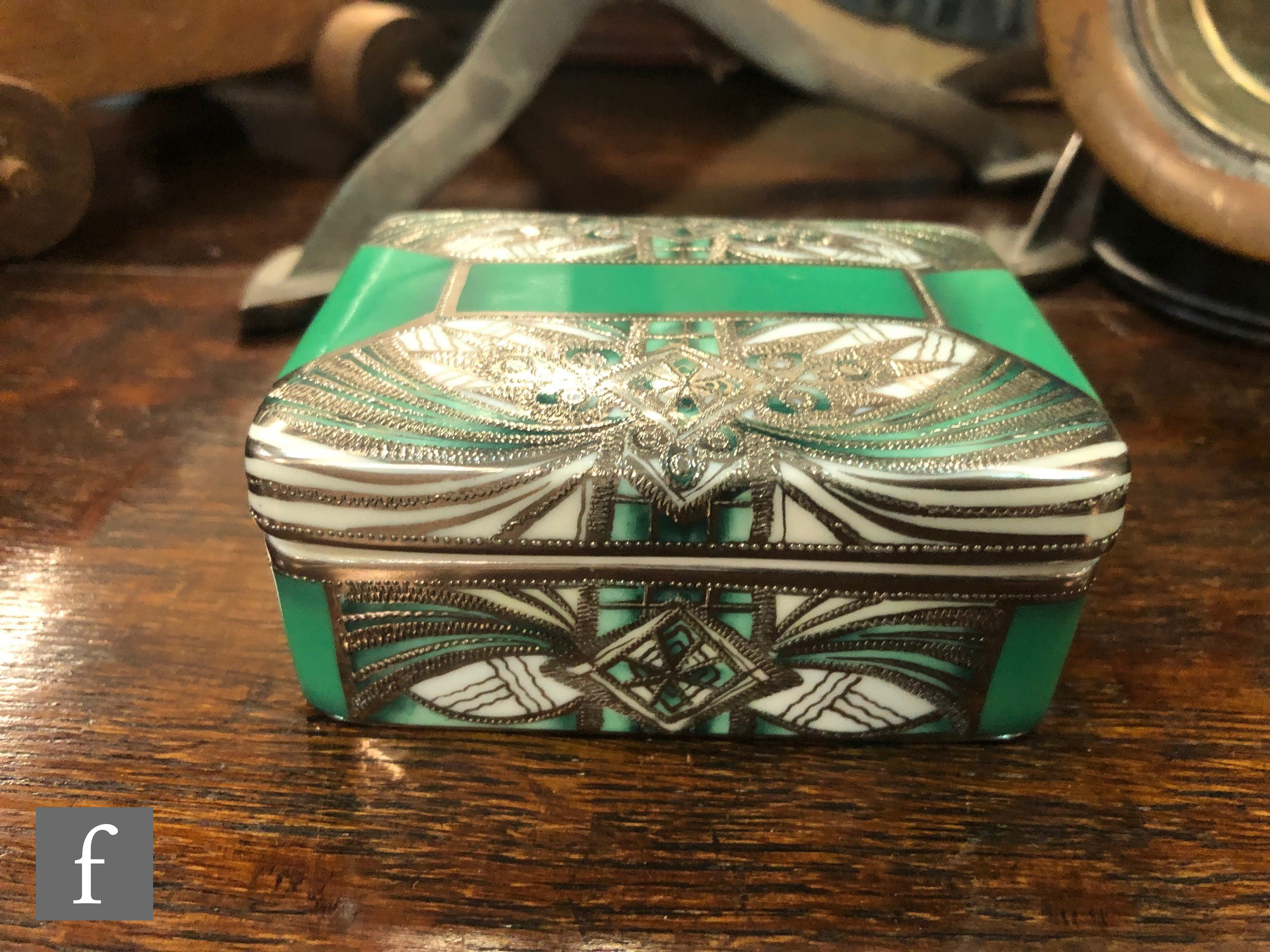 A Noritake rectangular box and cover decorated in the Art Deco style with silver lustre decoration - Image 2 of 4