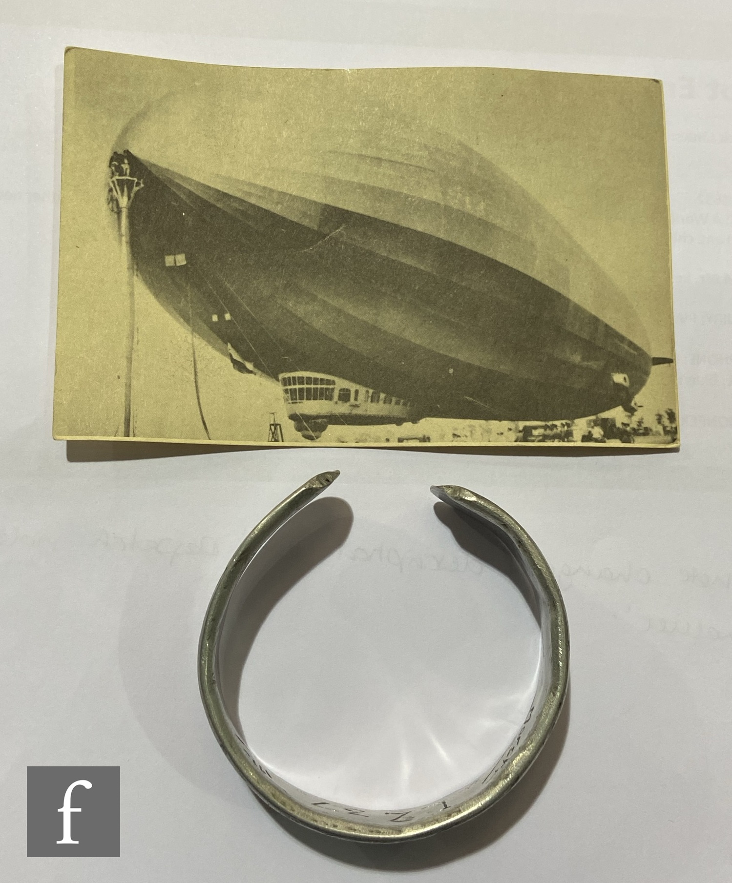 A collection of relics from the zeppelin airship LZ37 to include a piece of fabric mounted in an - Image 2 of 11