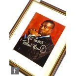 A side portrait study of Frank Bruno, signed 'best wishes', 40cm x 32cm, framed.