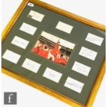 Eleven England 1966 World Cup winners team signatures including 'Alf Ramsey with Best wishes', Bobby