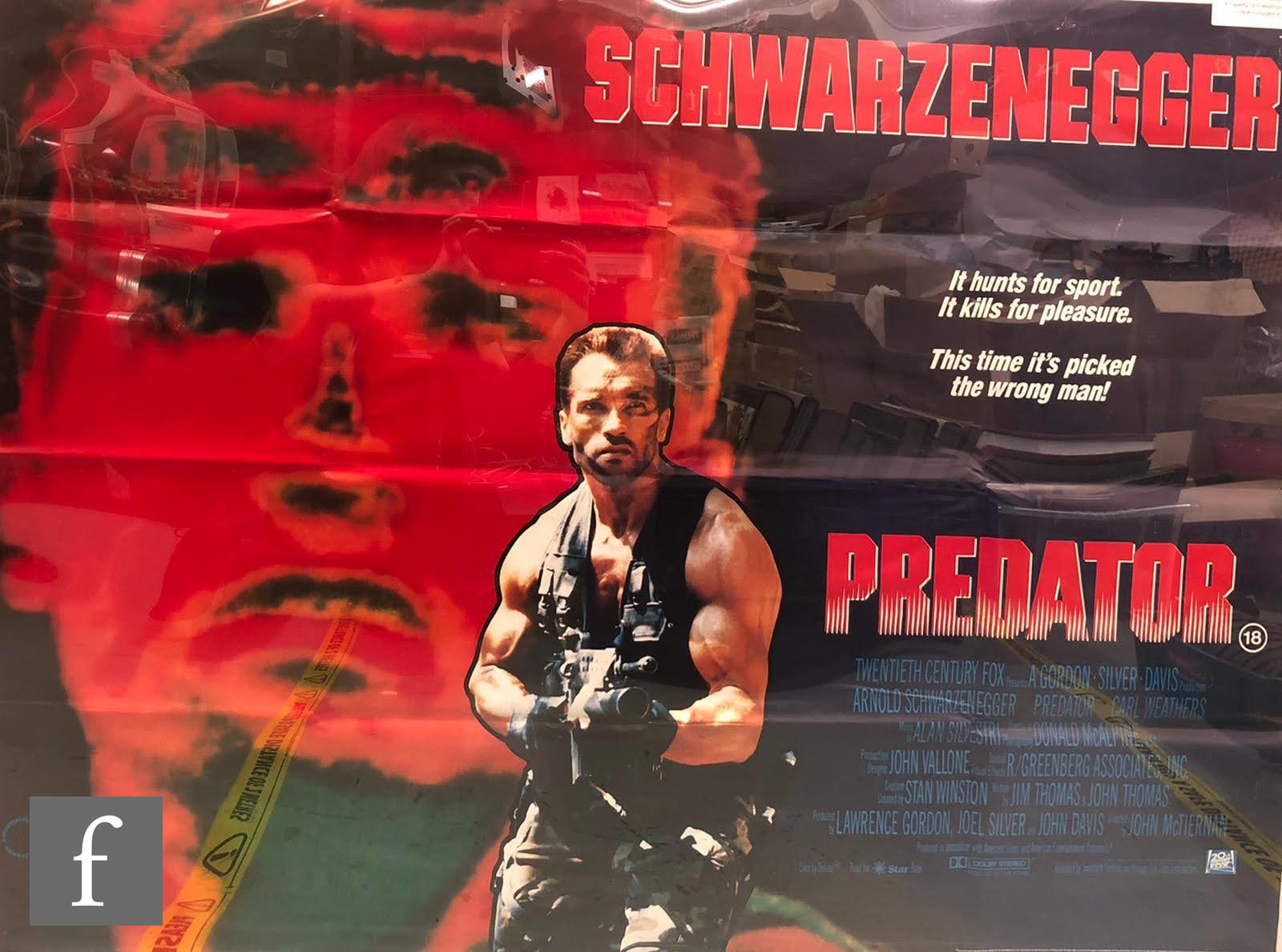A Predator British quad film poster, 1987, 29.5 inches x 39 inches, folded and trimmed.