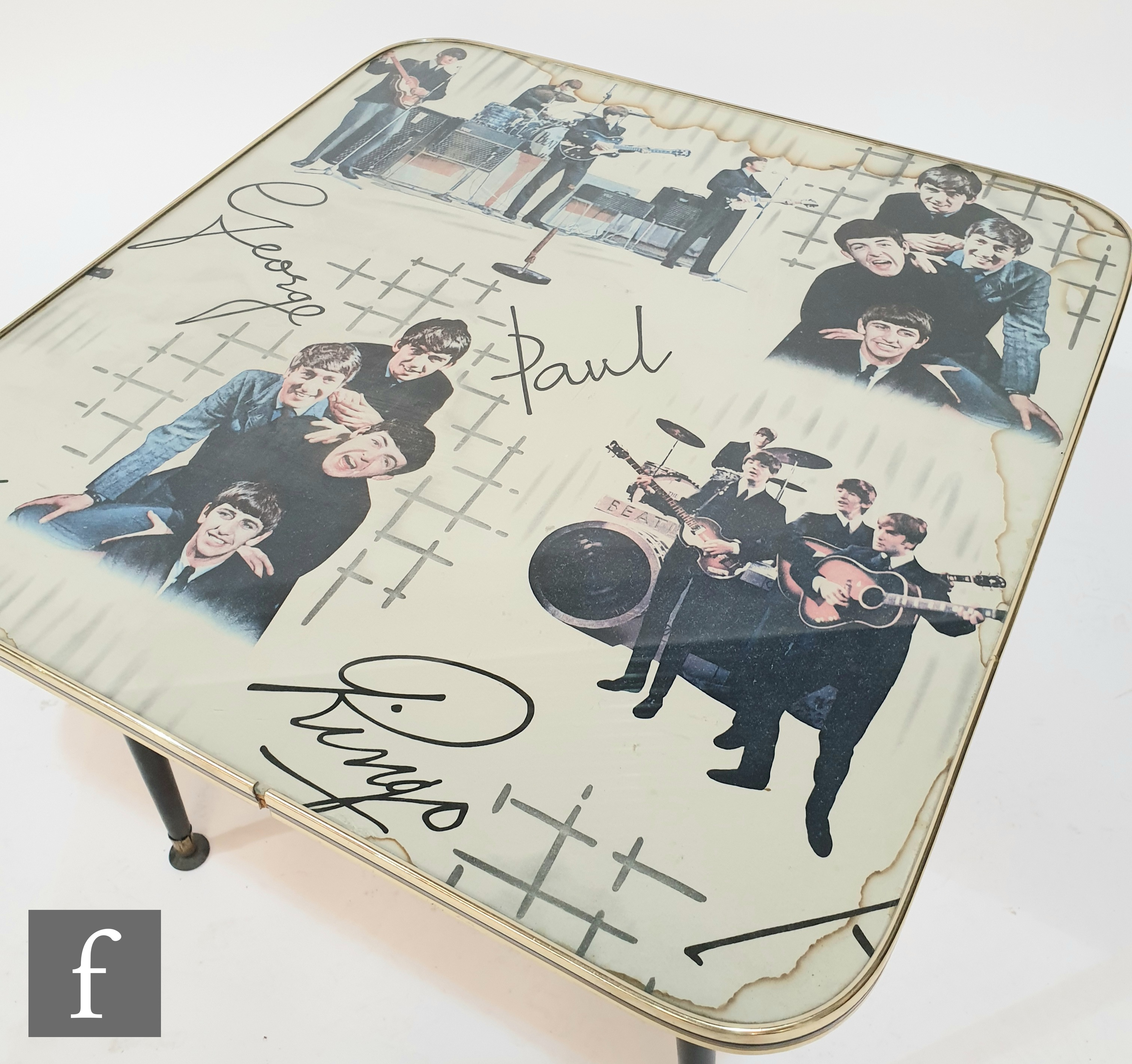 An original 1960s Beatles table, the splayed black legs with gilt edged plastic square top with - Image 3 of 3