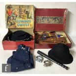 A collection of children's fancy dress costumes or playsuits, comprising a 1930s set labelled Indian