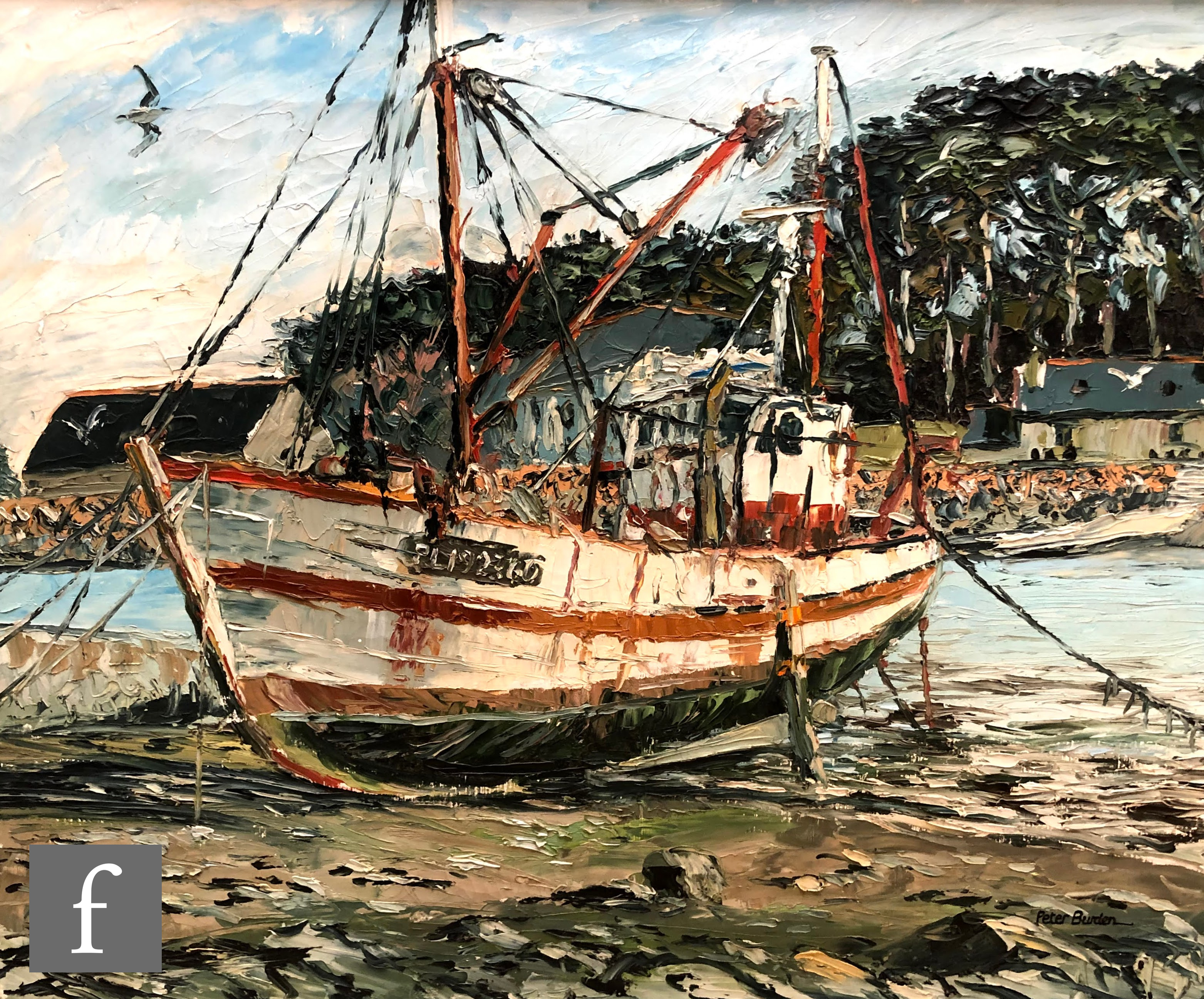 PETER BURDEN (B. 1948) - 'Fishing boat, Port Blanc, Brittany, France', oil on canvas, signed,