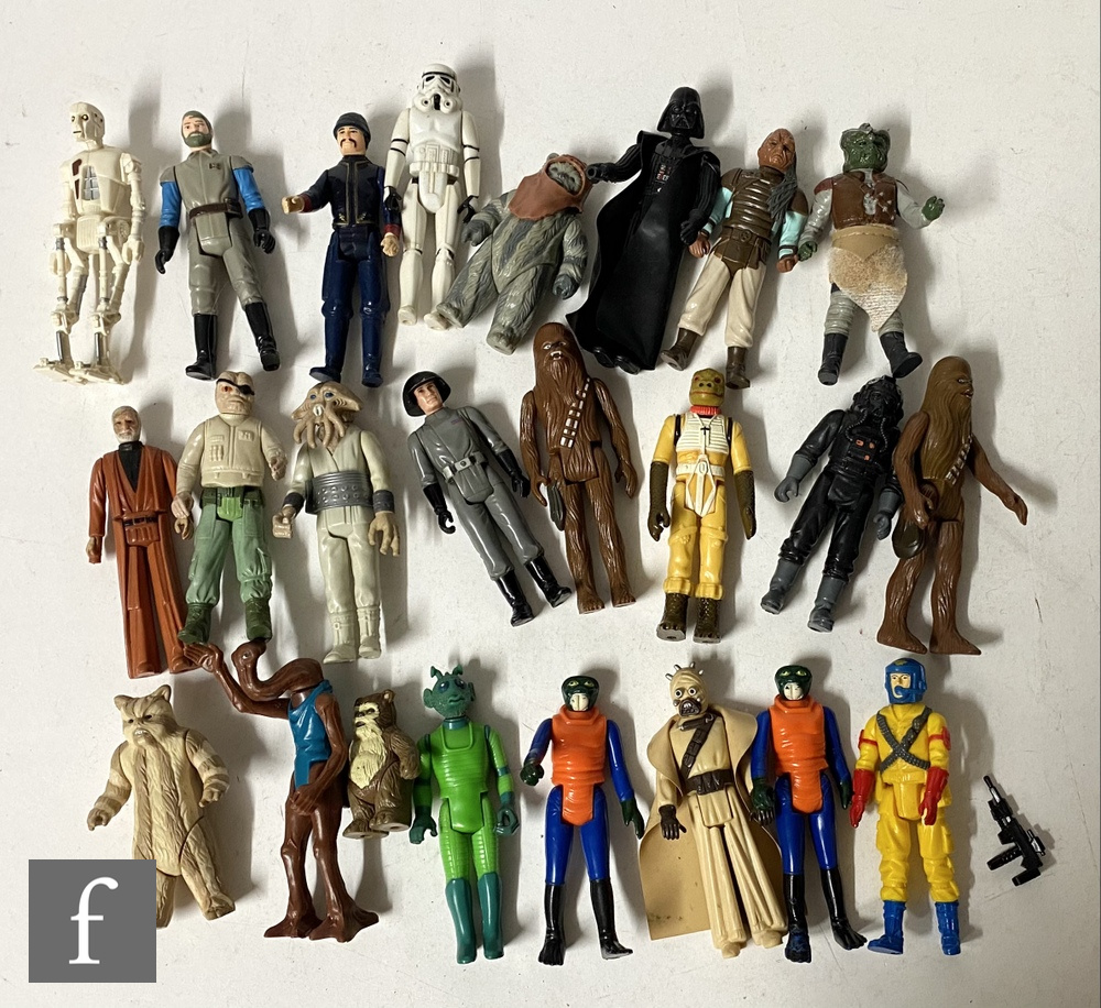 A collection of Kenner Star Wars 3 3/4 inch action figures, lacking weapons, with one other