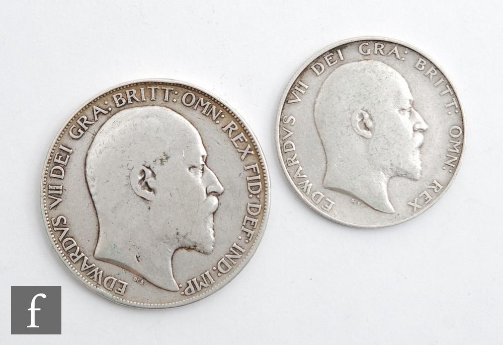 An Edward VII crown and half crown, both 1902. (2)