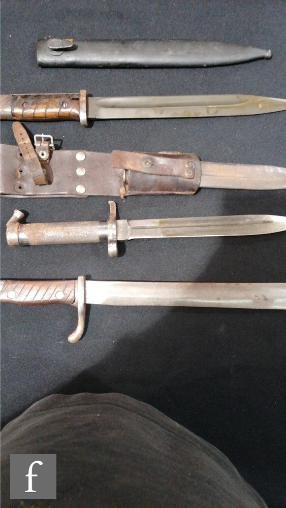 Two Spanish bayonets and scabbards both marked Toledo and stamped 3618 C and 4385 C, (both scabbards - Image 4 of 4