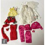 Four 1960s Mattel Barbie fashions, Matinee Fashion comprising red sheath dress, fur trimmed