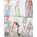 ALBERT WAINWRIGHT (1898-1943) - A study of costume designs from an English wall painting of the 14th