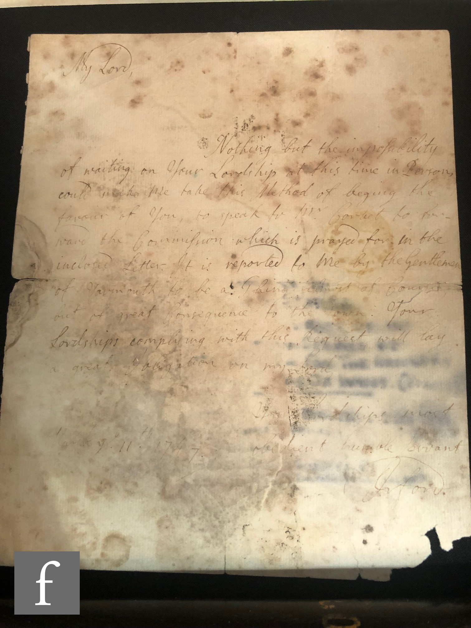 A folder of letters by 19th Century politicians to include Horace Walpole, Arthur James Balfour, - Image 3 of 4