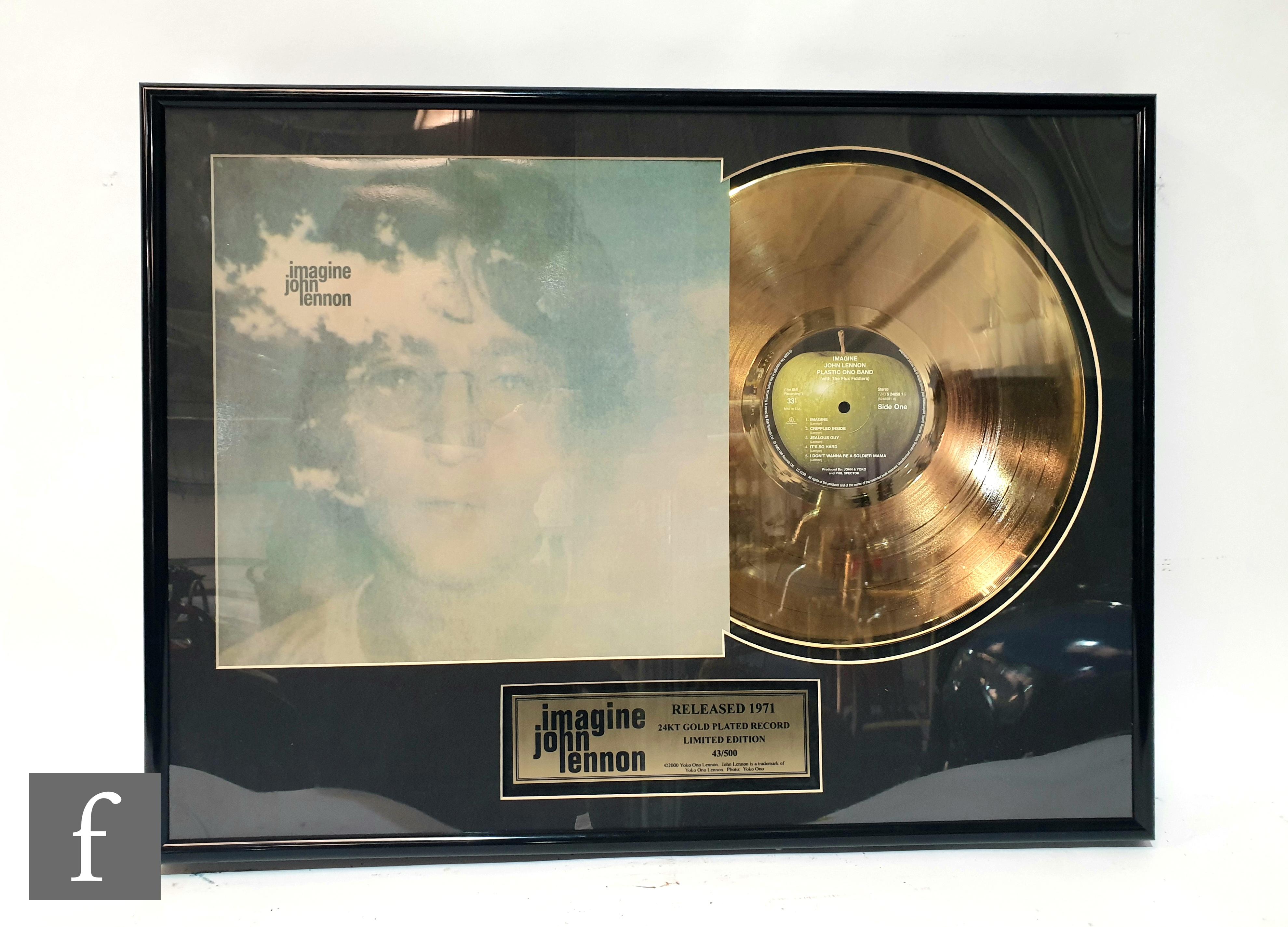 A limited edition John Lennon 24 carat gold plated Imagine framed presentation montage, edition