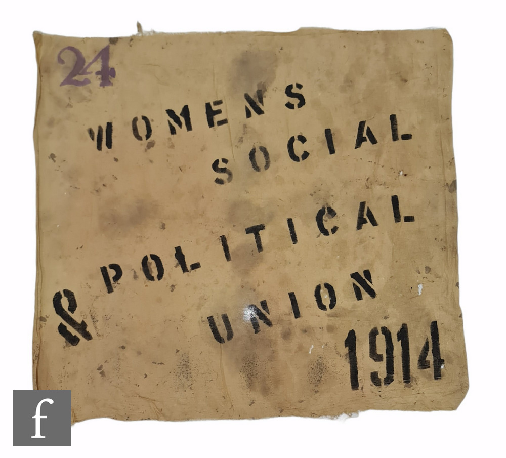 A beige cloth banner printed in black ink 'Womens Social & Political Union 1914', No 24 in purple