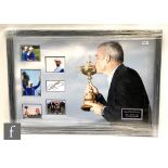 A signed and montage of golf action shots, Paul McGinley winning the Ryder cup in 2014,