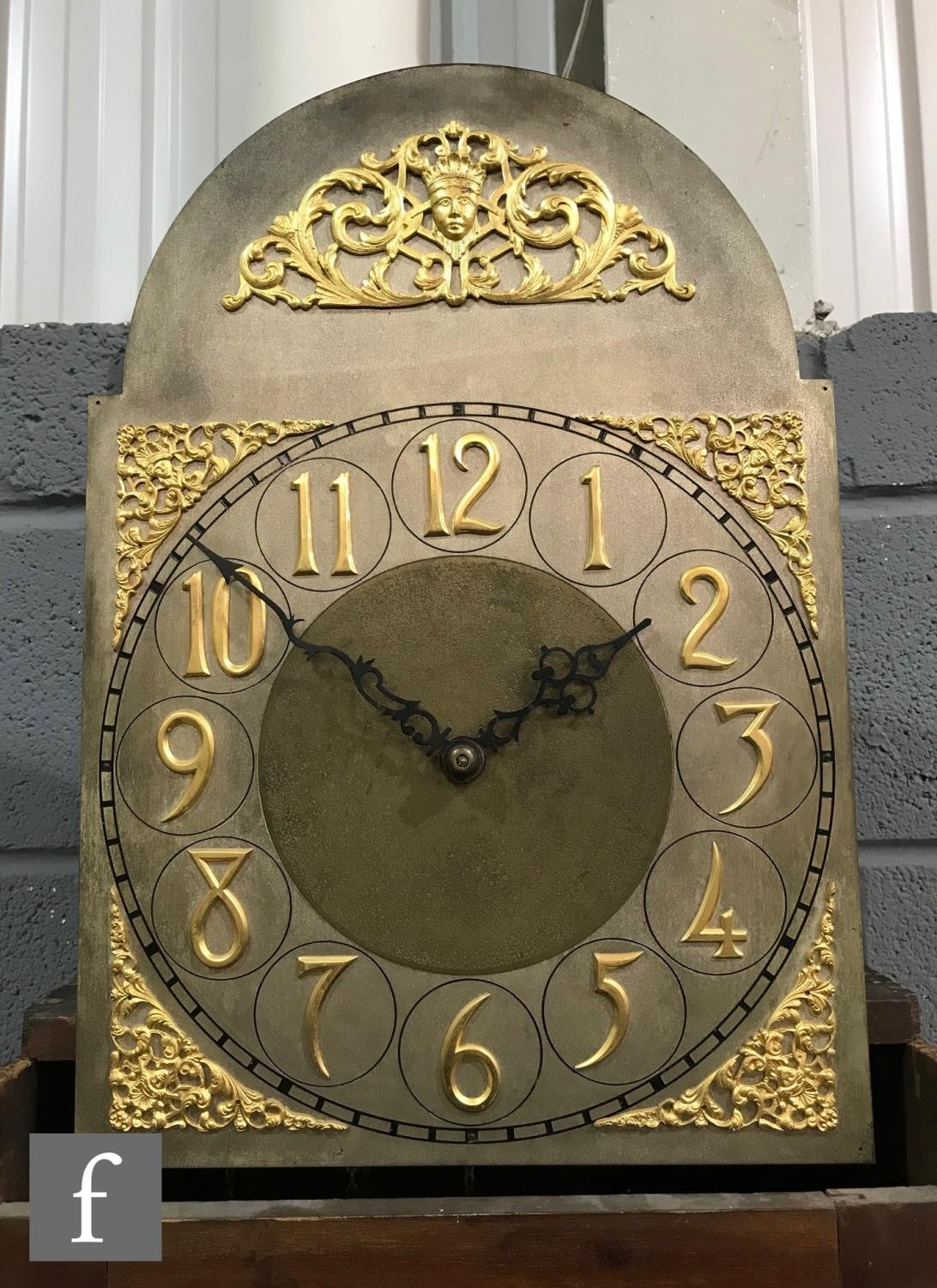 An Edwardian mahogany longcase clock, the Arabic arch dial with matted centre, spandrels and eight - Image 3 of 5