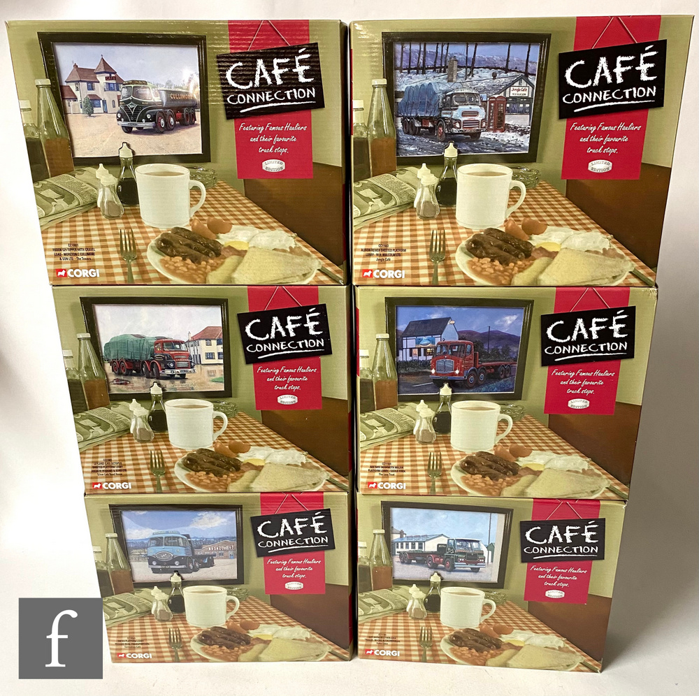 Six Corgi Cafe Connection 1:50 scale diecast models with cold cast dioramas, comprising C11603,