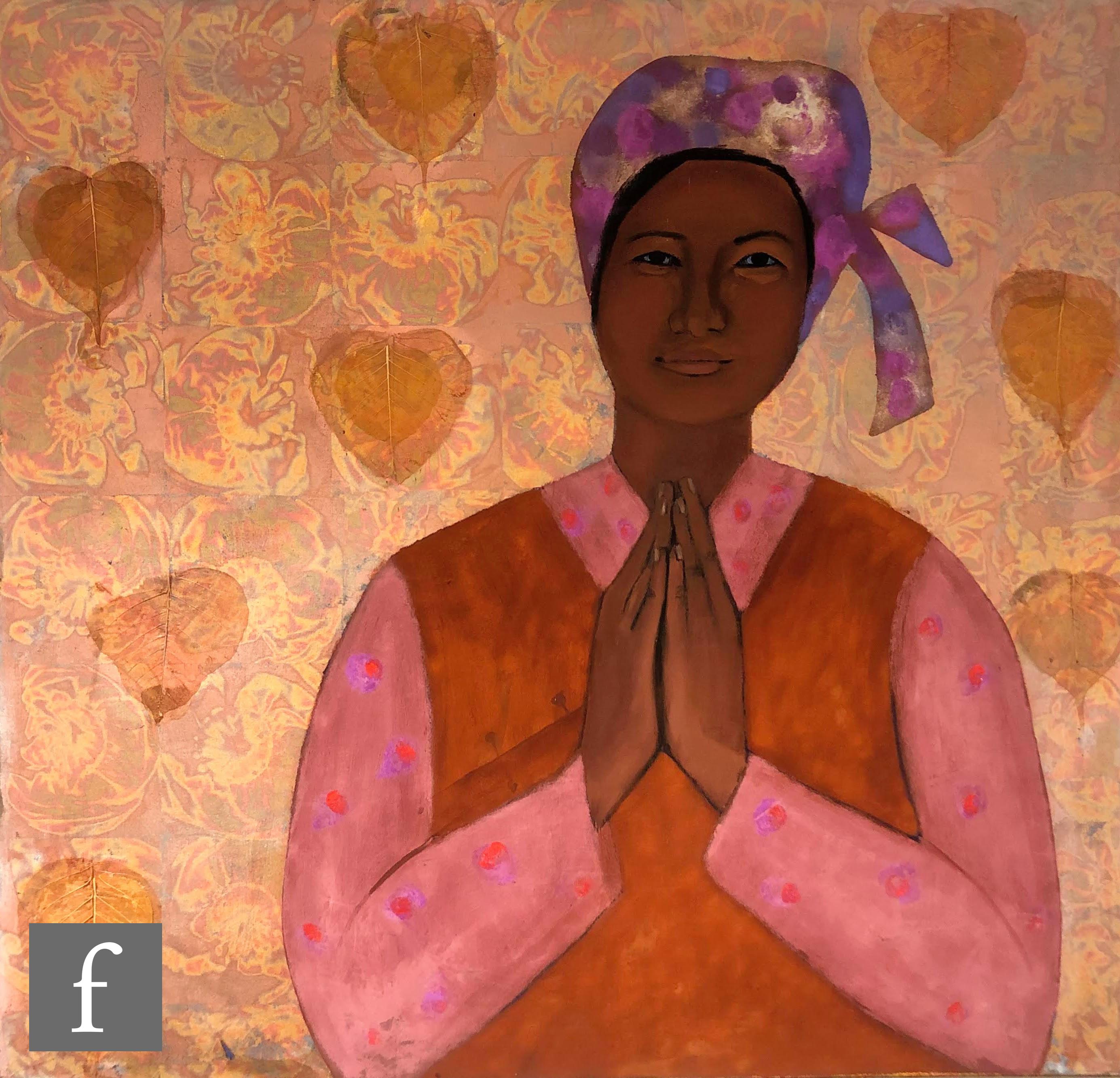 SUSAN JAYNE HOCKING (B. 1962) - Namaste, oil, pigment and metal leaves on canvas, signed verso,