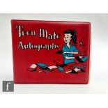 A 1960s autograph book, the Teen Mate book enclosing thirty individual signatures, some are signed