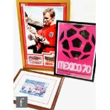 A Bobby Moore three photograph montage one signed, 80cm x 55cm, certificate on reverse, a 1970