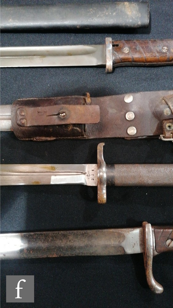 Two Spanish bayonets and scabbards both marked Toledo and stamped 3618 C and 4385 C, (both scabbards - Image 3 of 4