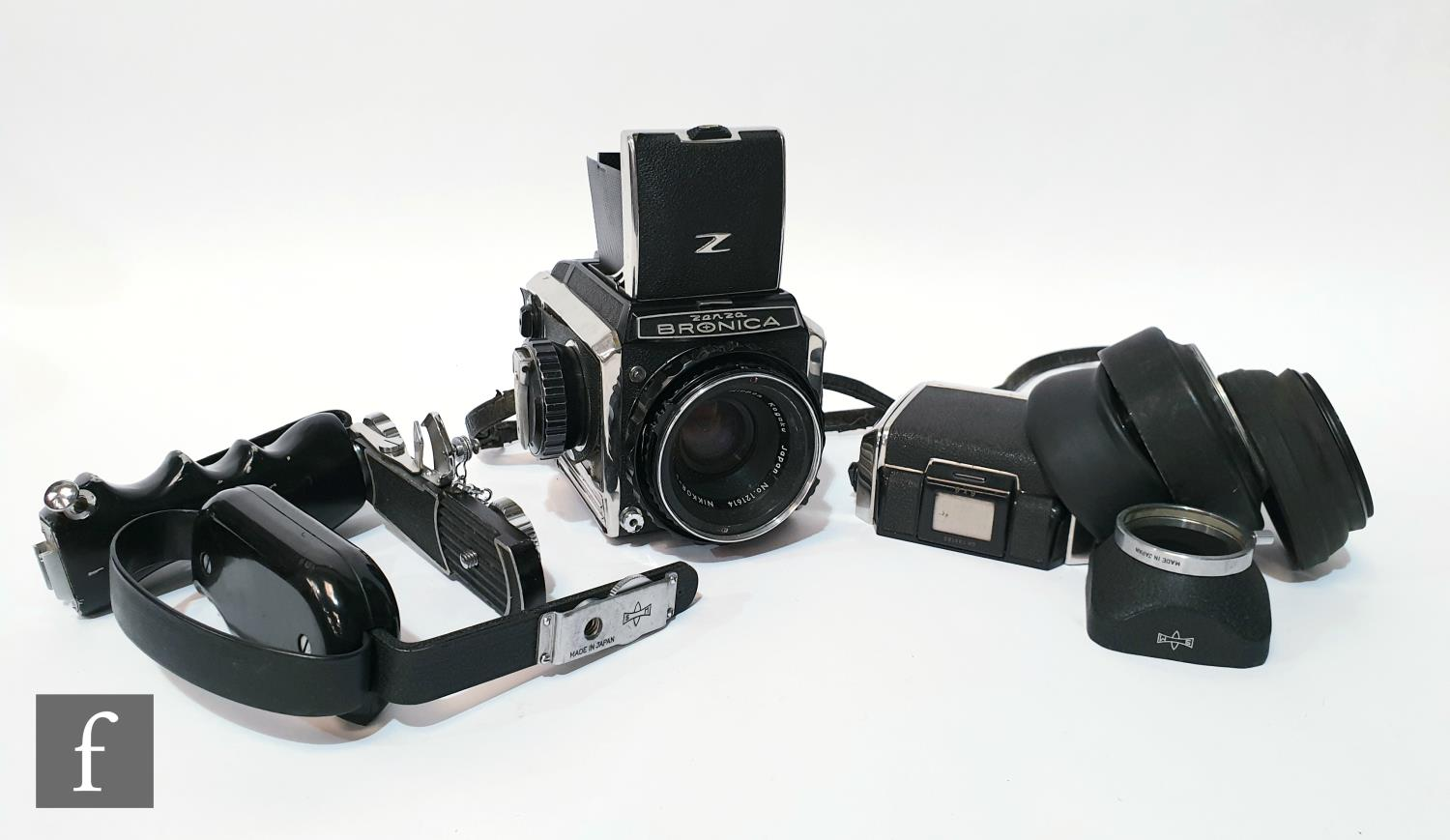 A Zenza Bronica S2 medium format camera outfit, circa 1965, comprising body serial number 75237,