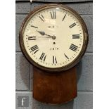 A British Railway (NE) station clock No 2617 with single fusee movement circular white enamelled