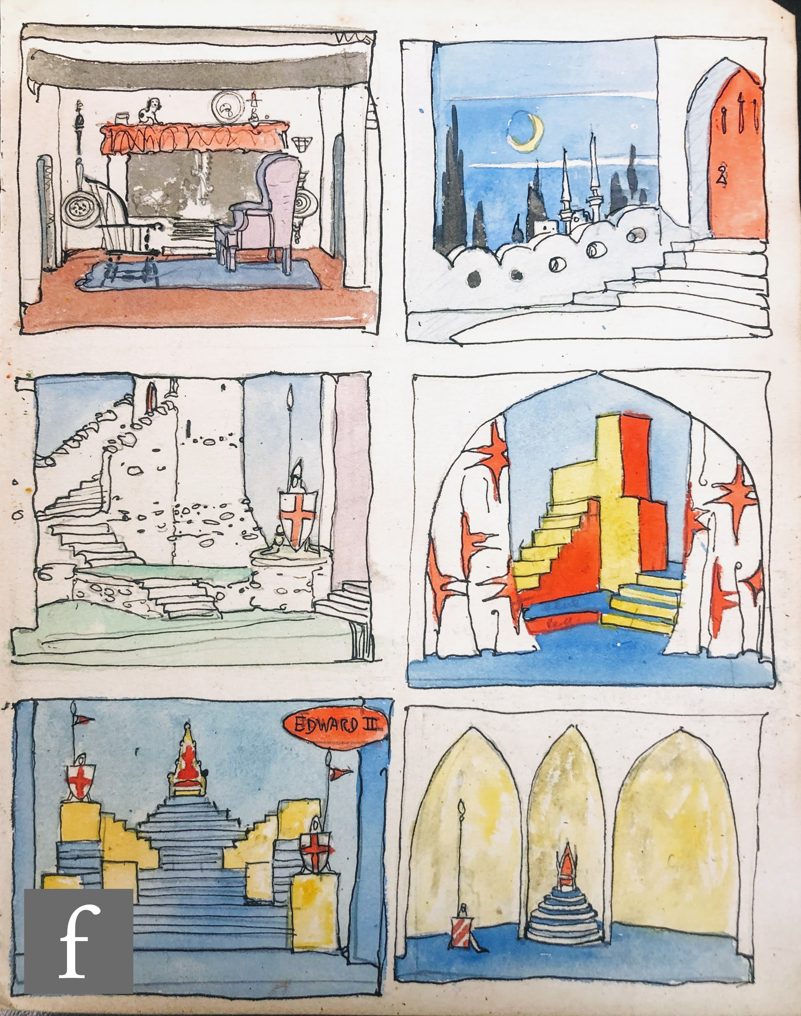 ALBERT WAINWRIGHT (1898-1943) - A group of six stage design studies for Edward II including interior