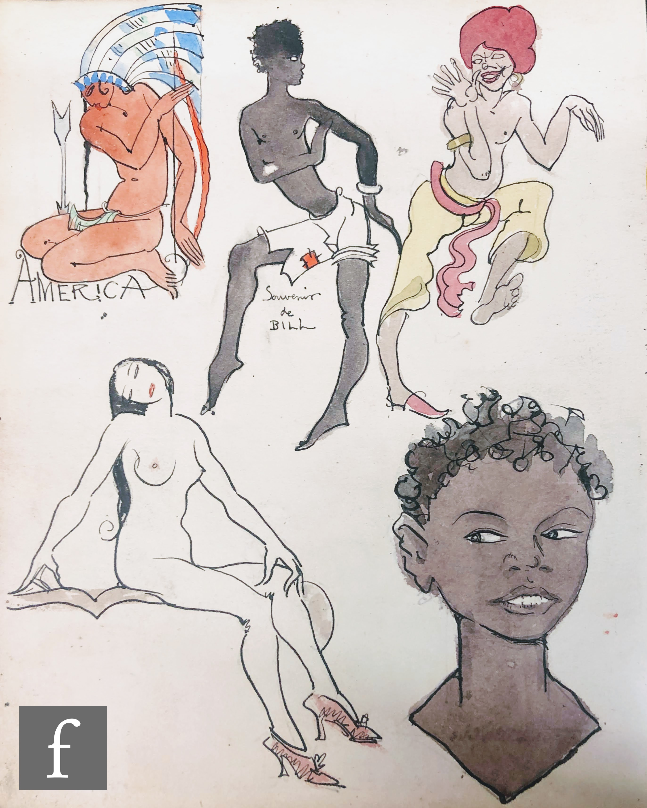 ALBERT WAINWRIGHT (1898-1943) - A study depicting various figures in an array of poses including a
