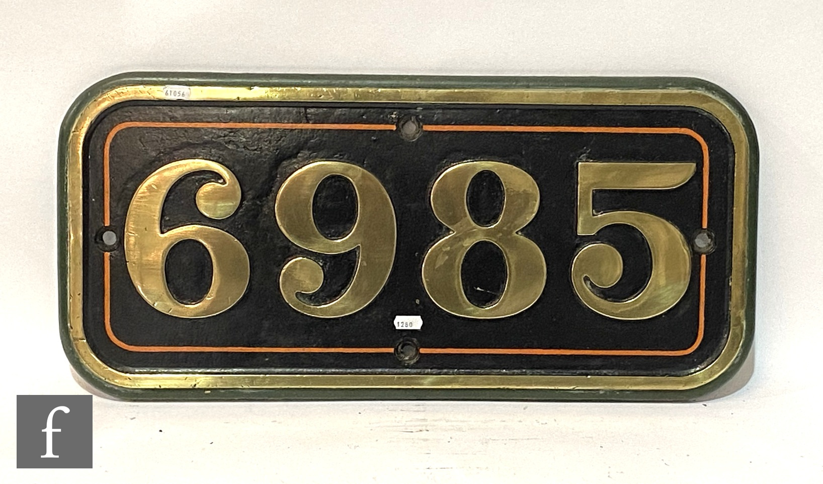 A modified Hall class locomotive brass name plate Parwick Hall, stamped to the rear R 6985 - Image 2 of 8