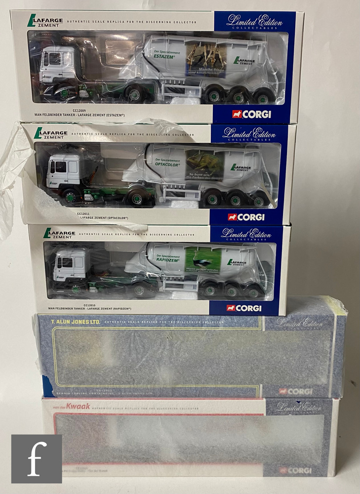 Five Corgi 1:50 scale diecast models, CC12913 T Alun Jones Scania Topline Curtainside, CC12419 Van