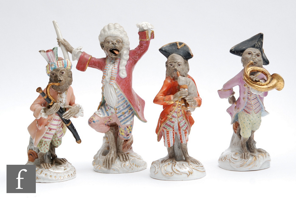 Four 19th Century continental Monkey Band orchestra musicians, after the Meissen original,