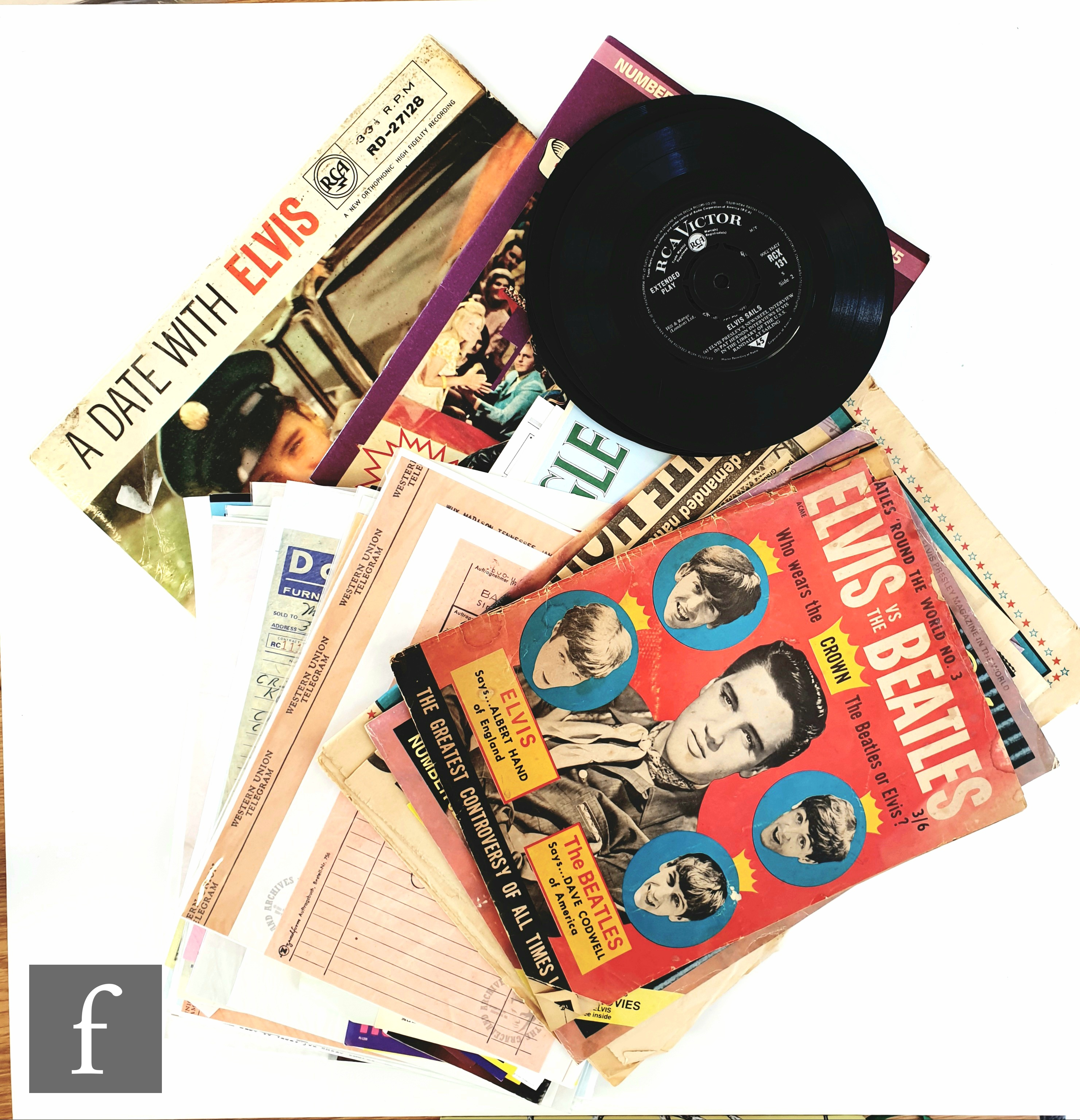 A collection of Elvis Presley related ephemera, to include a collection of reprinted documents