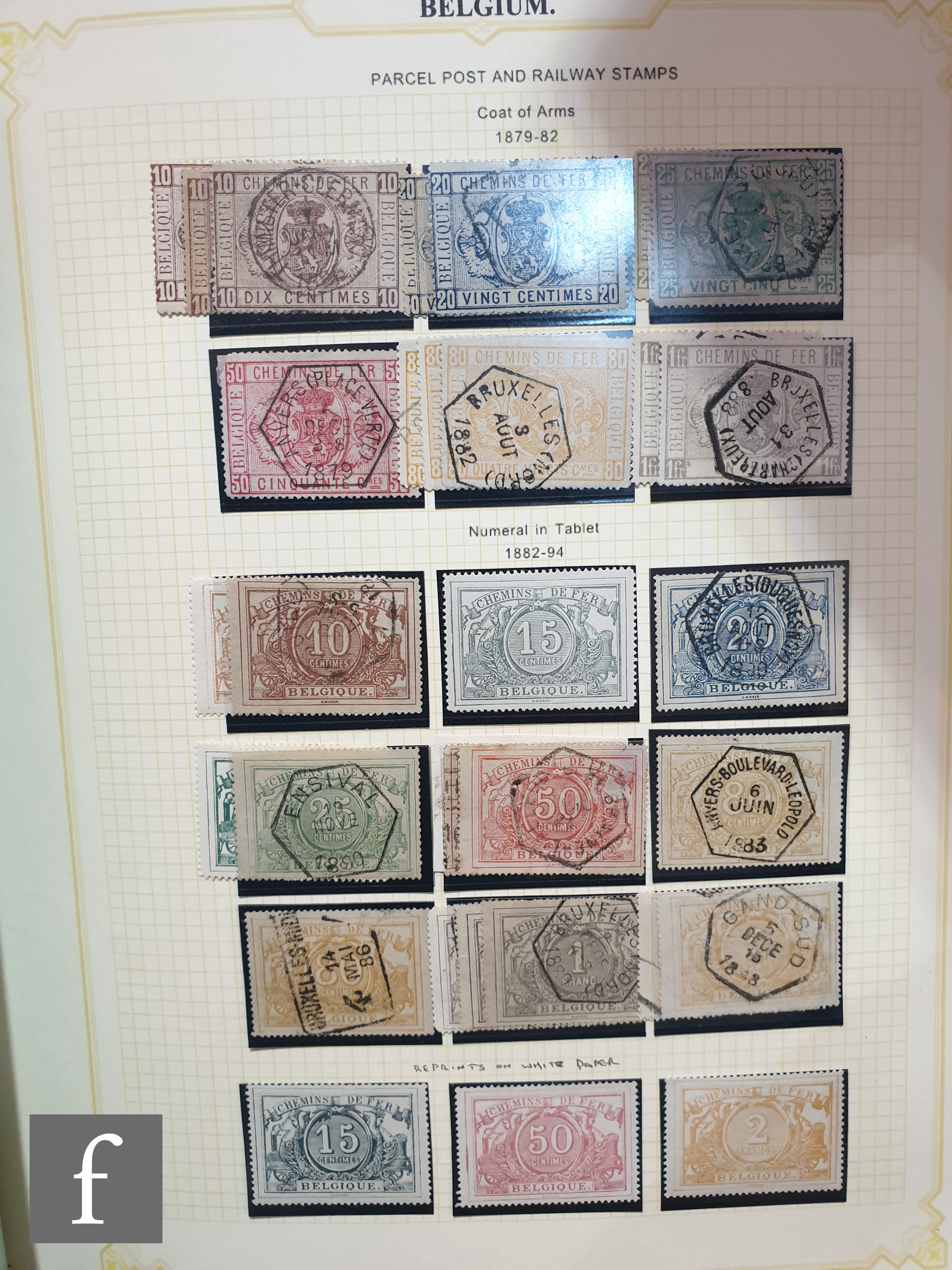 A collection of Belgian postage stamps, dating from 1850 through to the 1960s, all in two green