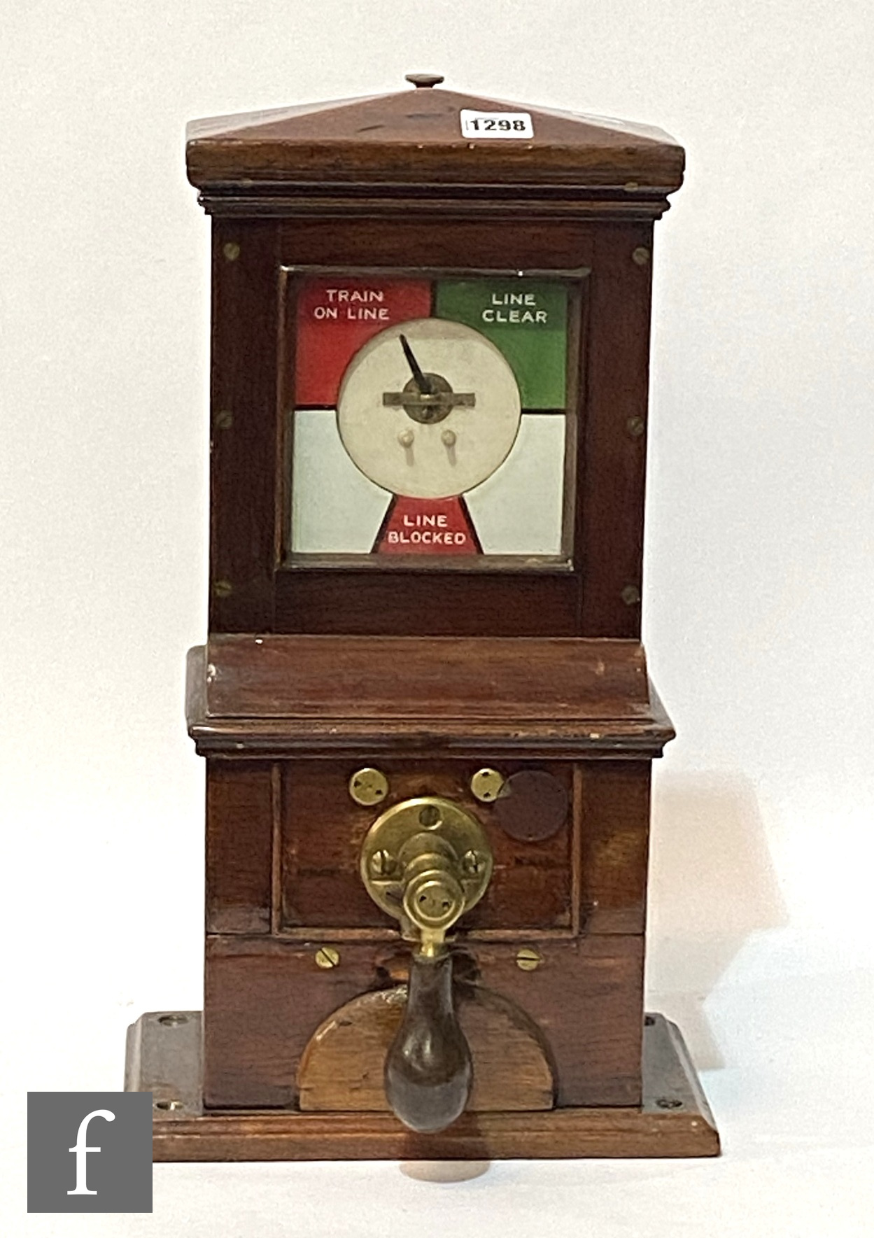 A Midland Railway two position block instrument, mahogany cased with brass fittings, stamped in