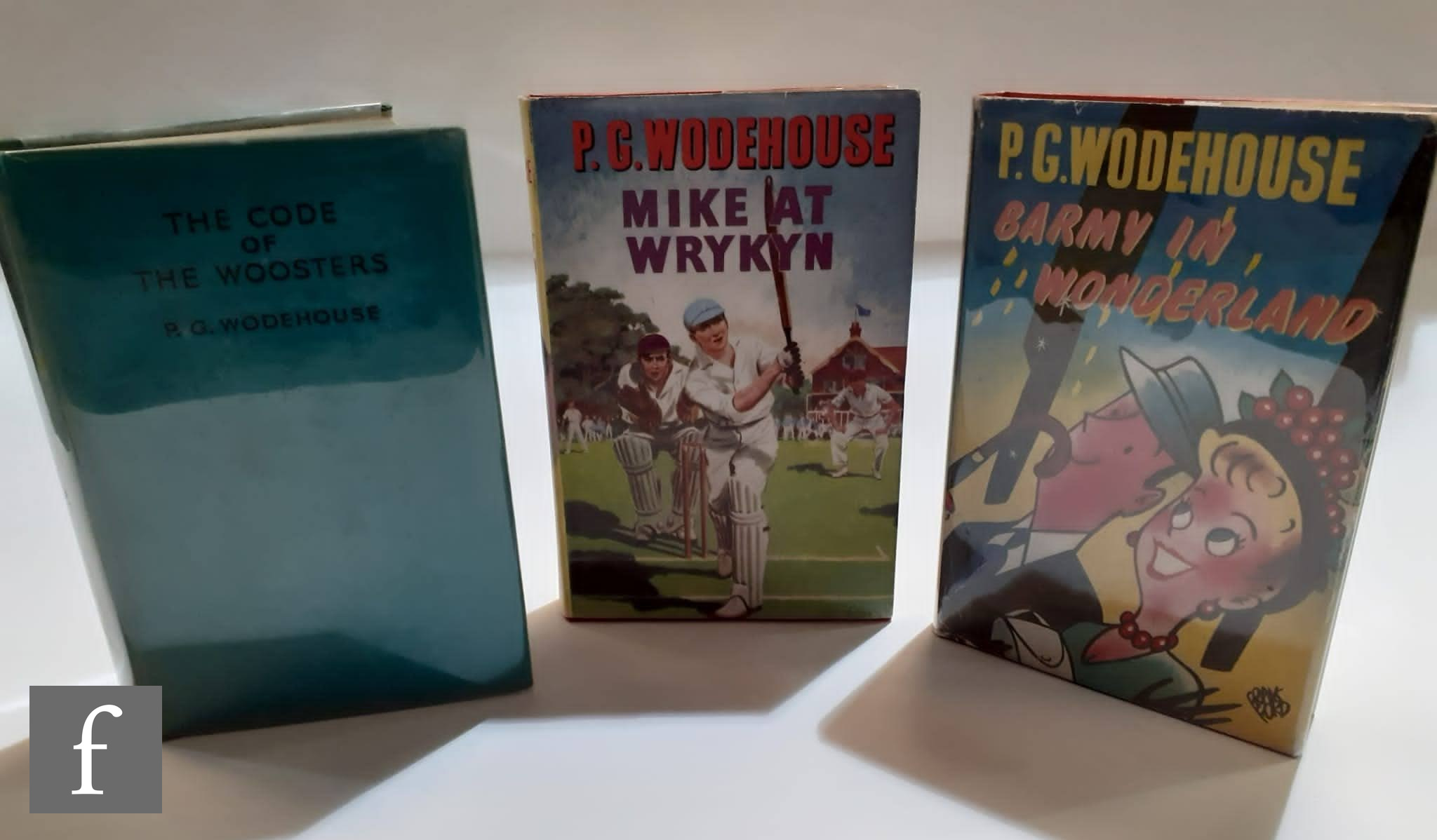 Three P G Wodehouse novels, 'Barmy in Wonderland', published by Herbert Jenkins, London, 1952, first