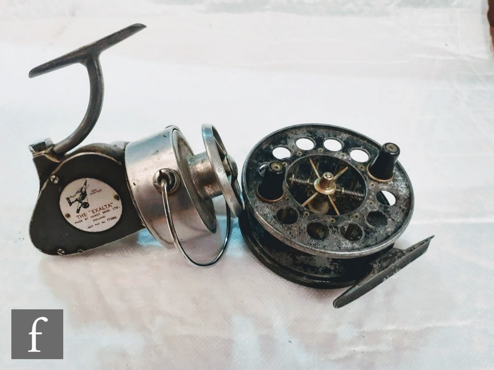 An Allcock's Aerial alloy centrepin reel, twin plastic knobs, winding plate with 10 perforations,