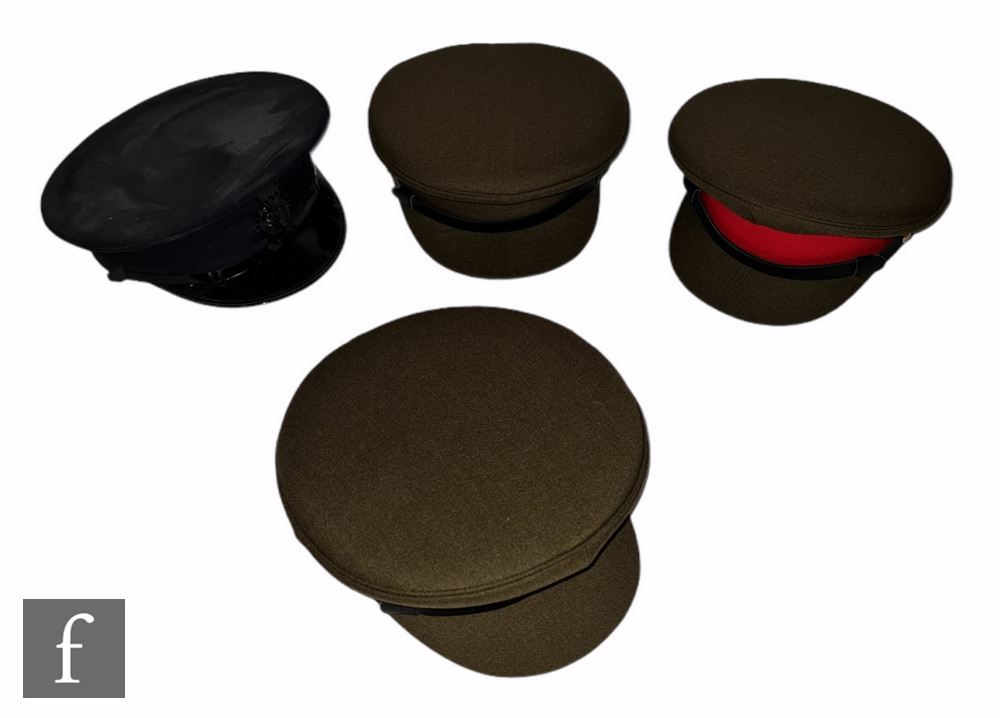 Three military officers olive green peaked caps with red bands, all boxed, sizes 6 5/8, 6 1/2 and