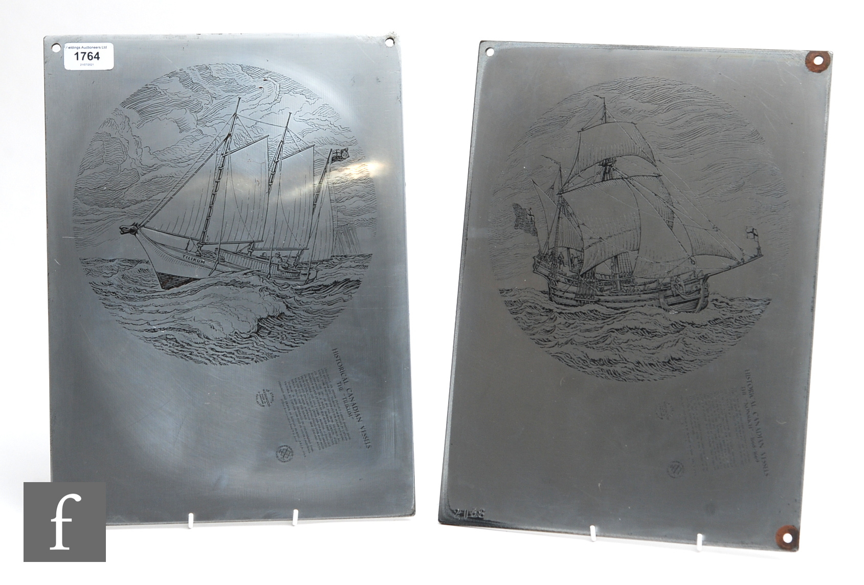 Two large mid 20th Century Wedgwood zinc over copper lithograph printing plates for the Historical
