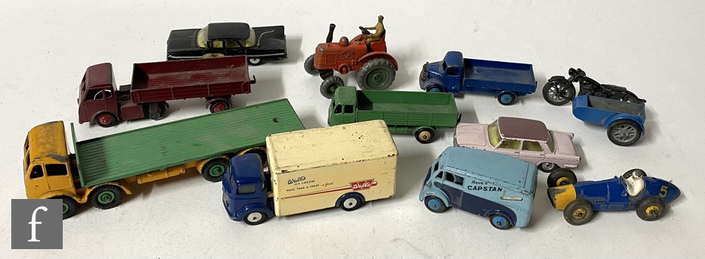 Eleven unboxed Dinky and Corgi diecast models, to include a Dinky 902 Foden Flat Truck with second