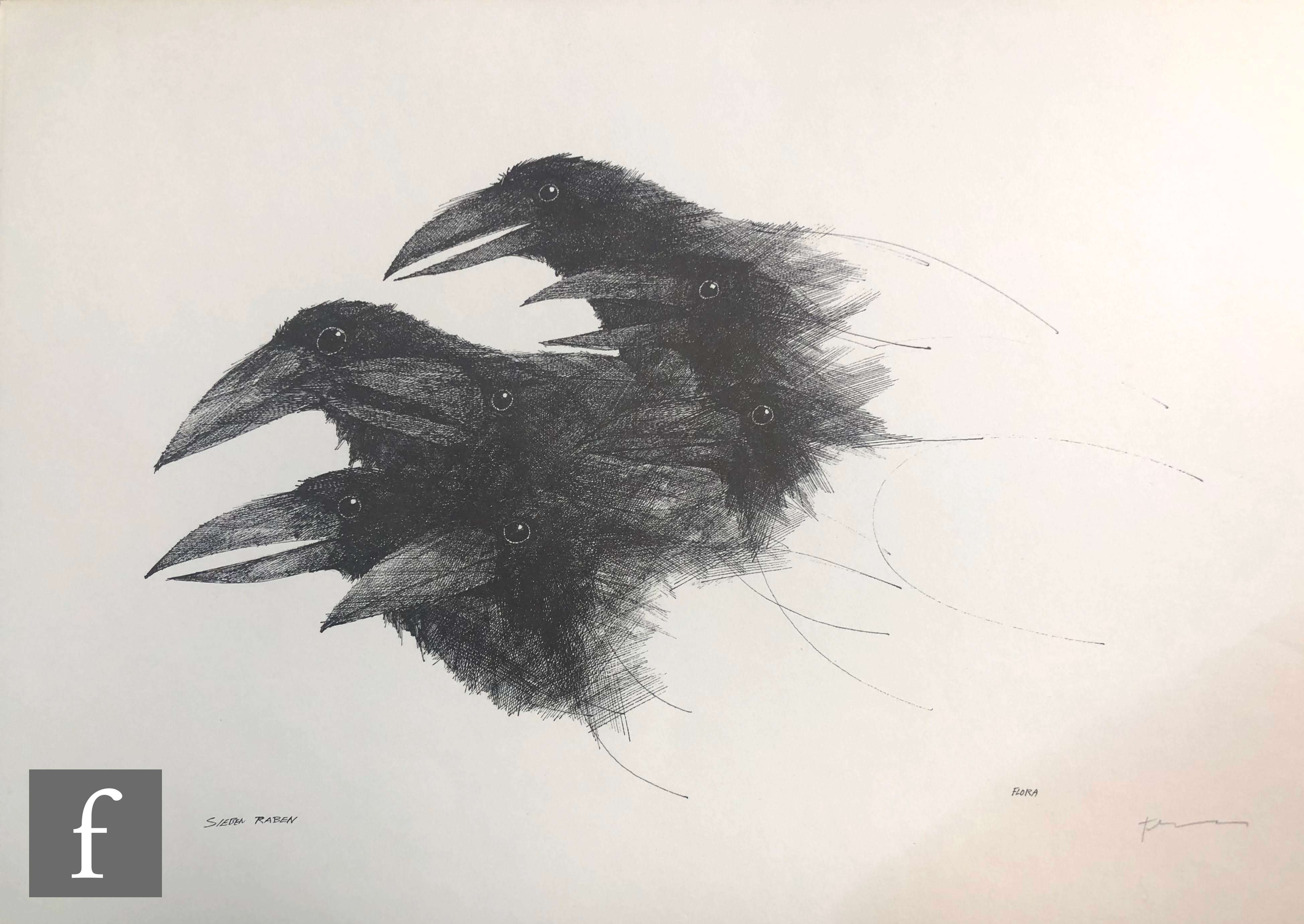 AFTER PAUL FLORA - Die Raben (The Ravens), a set of lithographs in original folder signed and - Image 4 of 4