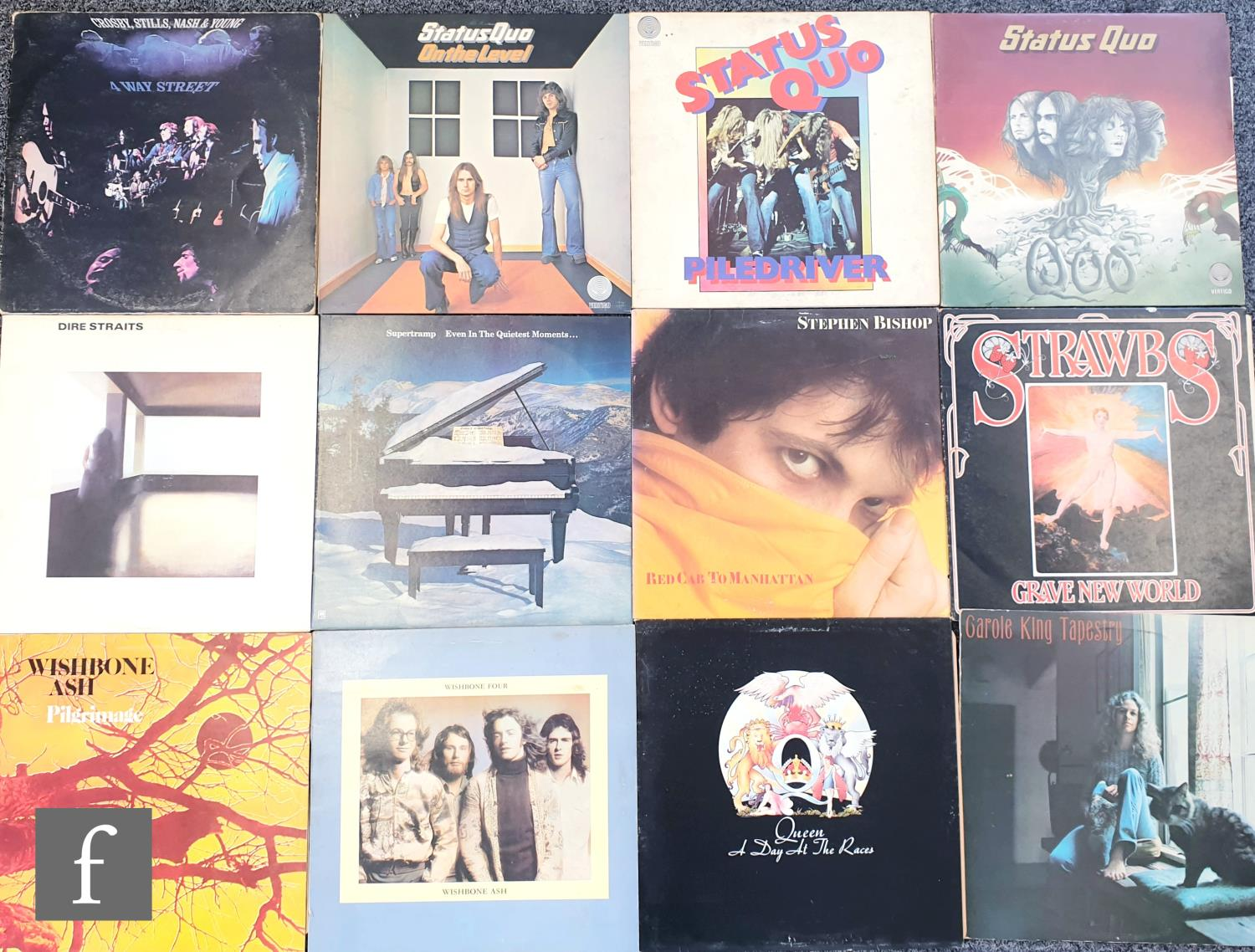 A collection of rock, pop and folk LPs, artists include Emerson, Lake and Palmer, Queen, The
