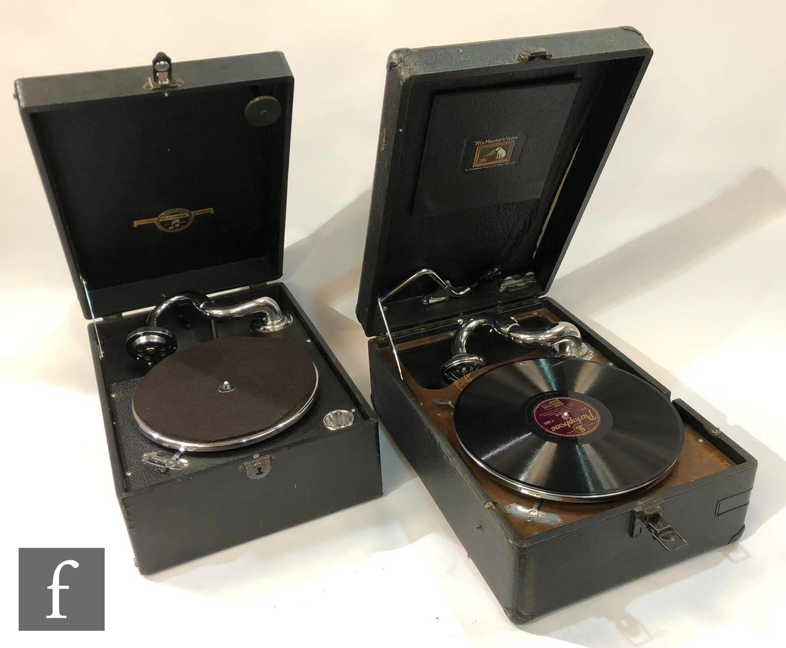 A Columbia black leather case table top wind up gramophone and a similar HMV model. (2)