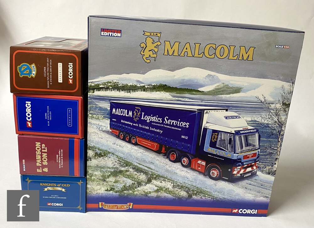 Five Corgi 1:50 scale diecast models including Hauliers of Renown, including CC99174 WH Malcolm
