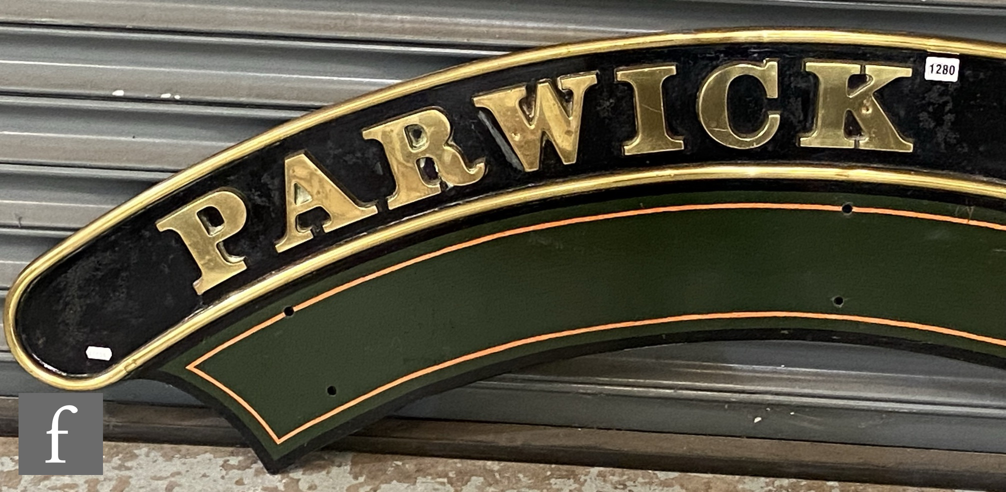 A modified Hall class locomotive brass name plate Parwick Hall, stamped to the rear R 6985 - Image 3 of 8