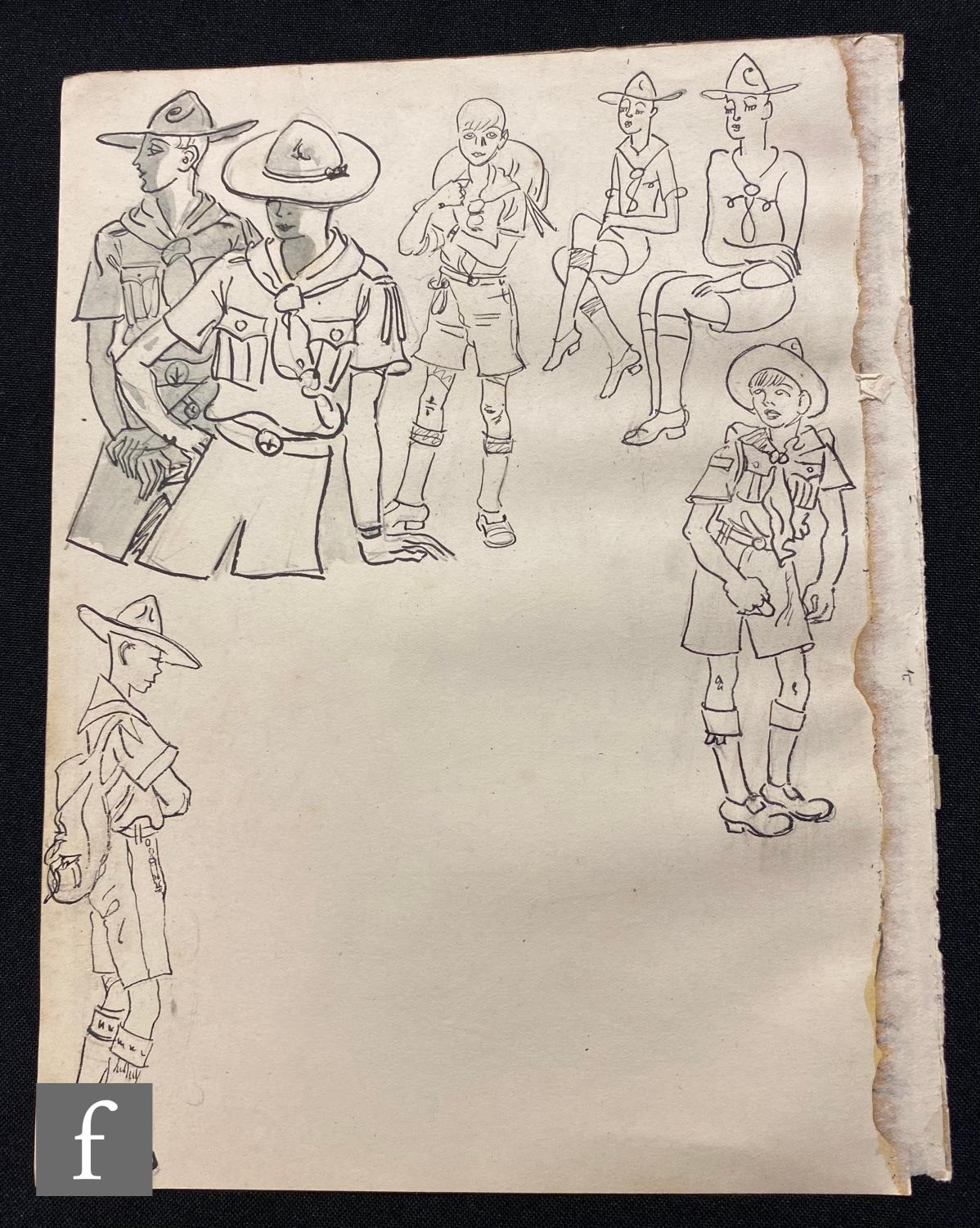 ALBERT WAINWRIGHT (1898-1943) - A sketch depicting boy scouts in various poses, to the reverse a